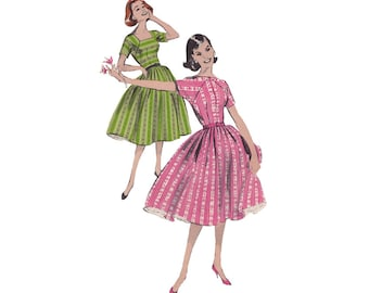 1950s Womens Rockabilly Dress Size 16 Bust 36 Butterick 8656 Fit & Flare Bouffant Dress with Sabrina Square Neckline Vintage Sewing Pattern