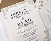 Wedding Invitation - Gold Wedding Invitation - Formal Wedding Invitation - Burgues Script