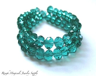 Emerald Green Beads, Rondelles 6mm x 5mm Beads, Teal Turquoise Spacer Beads Faceted Glass Crystals, Sparkly Sparkle Beads - 25 Pieces SKU670