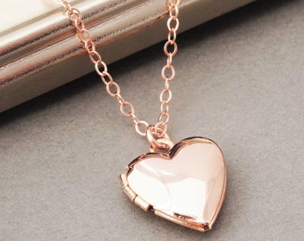 Rose Gold Locket Necklace, Heart Locket Necklace in Rose Gold, Rose Gold Heart Locket, Wedding Jewelry, Bridal Jewelry, Bridesmaid Necklace