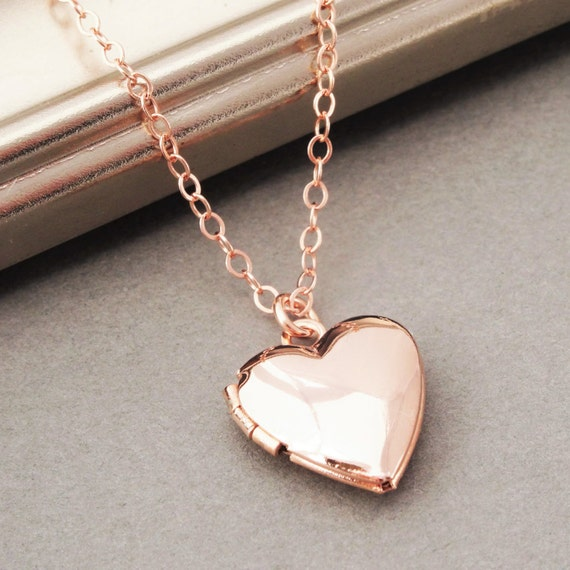 Rose Gold Locket Necklace Heart Locket Necklace In Rose Gold