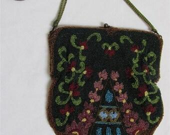 On Sale! 1900's Art Nouveau / Edwardian / Art Deco Floral Beaded Antique Purse / Handbag