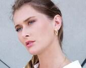 Triangle Ear Jackets, Jackets Earrings, Double Sided Earrings, Front Back Earrings, Double Sided Stud Earrings, Gold Double Back Earrings