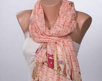 Salmon Cats Scarf Wrap. Long neck wrap. Holiday Scarf. Summer women wrap.