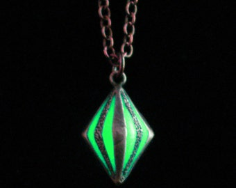Tiny Caged Glow In The Dark Pendant Necklace Jewelry Antique Bronze (glows green)