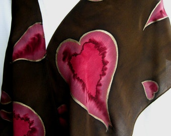 Brown Crepe de Chine Silk Scarf with Burgundy Hearts.  Hand Painted 11x60 inch Chocolate Pink Cherry Gold Silk Scarf. Hand Dyed Silk Scarf