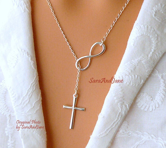 Infinity cross necklace sterling silver cross infinity like this item aloadofball Choice Image