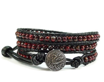 Leather Wrap Bracelet Red and Black Dragon Button Beaded Jewelry