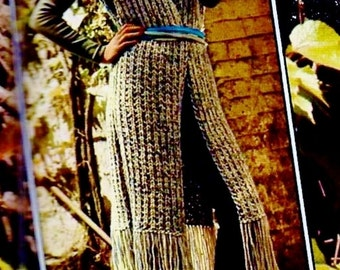 Long Fringed Vest Vintage Knitting Pattern Download