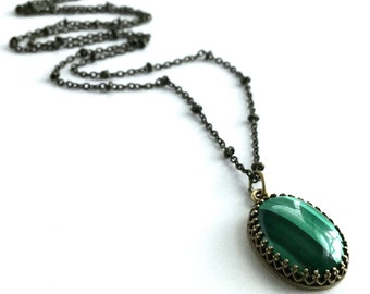 Green Malachite Necklace, Emerald Green Pendant, Oval Natural Stone Pendant on Long Brass Chain, Real Gemstone Jewelry