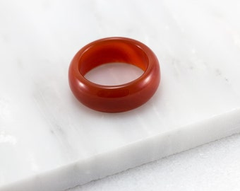 Red Carnelian Ring/ Red Agate Ring/ Red Stone Ring/ Carnelian Band/ Red Agate Band/ Red Gemstone Ring