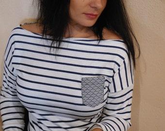 SOLDES marinière femme, tee-shirt rayures marines, poche et noeud en tissu japonais vagues Seigaiha, dos nu, manches 3/4, fait en France