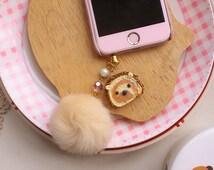 Hedgehog swiss roll - anti dust plug key chain bag charm