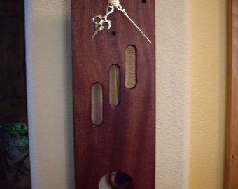 MID Slimline Solid African Mahogany Clock,(MD1) Quartz Movement, Pendulum with Chimes