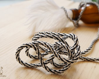 Gold, Black and White Braid Cord 4mm (RSTS0004-01-4mm) | sold by yard –  braid string – cord bracelet – braid jewelry