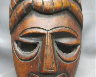 Old vintage hand carved handmade wooden tribal ethnic native art mask wood carving wall hanging