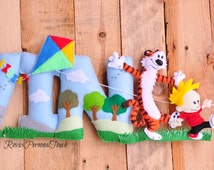 Personalized Baby Nursery Name Wall Decor - Calvin and Hobbes-  Felt Letters - ( Price per letter)