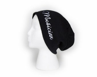 Slouchy Beanie with word Musician Embroidered Beanie Hat