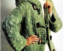 CROCHET  Retro Pattern, Toggled Buttoned Down Hooded Sweater Jacket pattern, Red Heart Hooded Duffle Coat,  - PDF Pattern