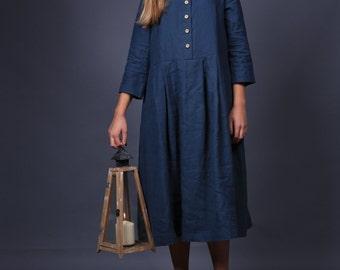 Loose linen dress / Linen dress / Maternity linen dress / Linen dresses / Graphite grey linen dress / Boho dress / Washed linen dress