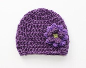 0 - 3 Months Hat, Newborn Hat, Crochet Baby Girl Hat, Baby Girl Beanie, Baby Shower Gift, Crochet Hat with Flower, Purple