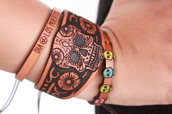 Stacked Leather Bracelet - Dia de Los Muertos - Day of The Dead - Stacked Leather Cuff - - Leather Cuff -Halloween - Bohemian/Gypsy/Hippie