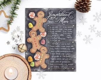 Gingerbread Man Printable Art, Gingerbread Man Recipe, Christmas Cookie Recipe Printable, Christmas Cookies Art, Christmas Cookie Wall Art.