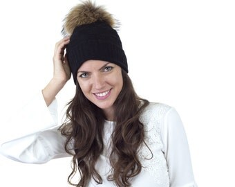Cashmere hat, Cashmere and Super Wool beanie with removable fur pom pom. FREE SHIPPING in the USA.