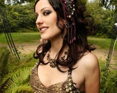 Headdress, VEGAN, Black, Gold, Nouveau, High Priestess, Indian Style, Goddess, Bellydance, Costume, Ritual, Halloween, Tribal, Dark Fusion