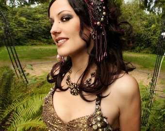 Headdress, VEGAN, Black, Gold, Nouveau, High Priestess, Indian Style, Goddess, Bellydance, Costume, Ritual, Halloween, Tribal, Dark Fusion
