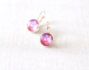Pink and Magenta Galaxy Earrings. Space Earrings. Universe Earrings. Glass Dome Earrings. Galaxy Stud Earrings. Space Post Earrings.
