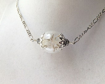 Dandelion Seed Terrarium Necklace, Small Orb In Silver or Bronze, Wishing Orb Bridesmaid Gift
