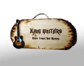Wood Burning Guitar Signs - Custom Pyrography Wall Hanging Signs with Personalized Text & Embedded Handmade Guitar of Choice
