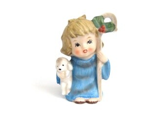 Mary Lamb Figurine, Mary Had a Little Lamb, Little Bo Peep, Nursery Rhyme, Christmas Girl Figurine