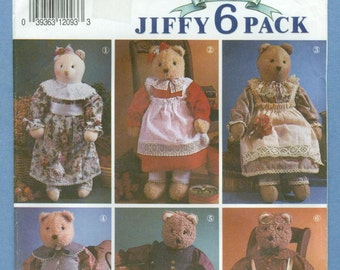 "1991 Stuffed Bear (22"") and Clothes - Vintage Simplicity Sewing Pattern 7649"
