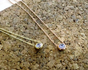 Solid Necklace 14k,Gold Necklace,Solitaire Pendant,Chain handmade,Jewelry for her,Engagement,Bride to be,Birthday Gift,Valentine's gift