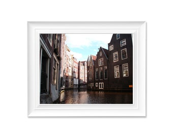 Through the canals, Printable Photograph, Amsterdam canal view, europe photography, water photography, city view, Instant Digital Download