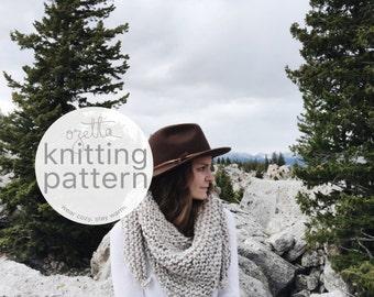 Knitting Pattern / Chunky Triangle Bandana Scarf / THE TRAVELING SCARF
