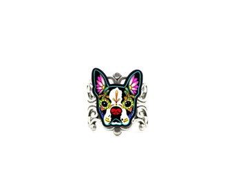Boston Terrier Ring - Day of the Dead Sugar Skull Dog Adjustable Ring