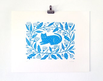 FREE Shipping!** BLUE GARDEN - Letterpress Print