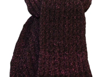 Hand Knit Scarf - Cherry Chocolate Yampa Valley Wool Cable Rib