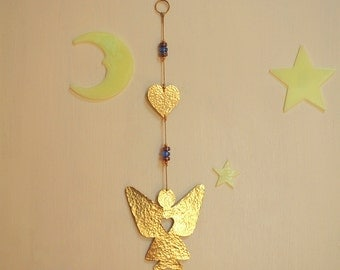 Gold Heart Angel Wall Hanging - Brass Angel decoration - Gift for Her - Gift for Girls Room
