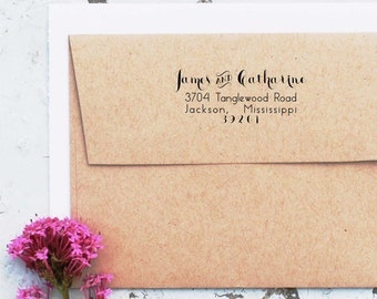 Rustic Wedding Stamp, Custom Return Address Stamp, Self inking Address Stamp, Wedding Invitation Stamp, Calligraphy Rubber Stamp 10210