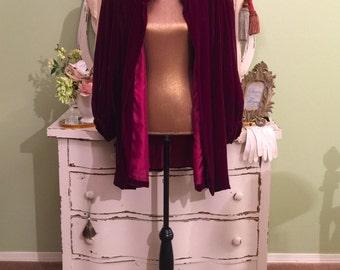 20s 30s Velvet Jacket, Cranberry Art Deco Coat, Bonwit Teller, XL Plus Size, Poet Sleeve Opera Jacket, 1930s Vintage Coat, Red Evening Coat