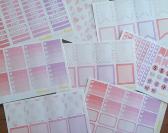 Complete Set- Watercolor Hearts Collection Erin Condren planner stickers!