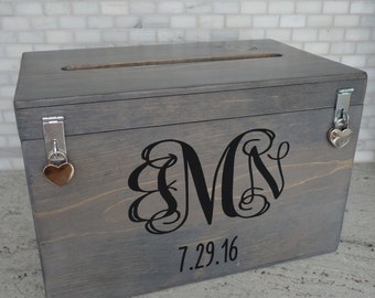 Wedding Card Box w Monogram and Wedding Date, Keepsake, Memory, Treasure, Handmade, Custom