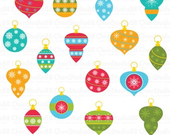 Retro christmas ornaments vector - Digital Clipart - Instant Download - EPS, and PNG files included