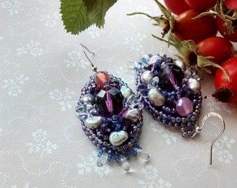 Bead embroidered earrings Oval dangle earrings Lilac pink purple earrings Feminine statement earrings  Boho style earrings