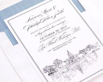 Washington DC Skyline Wedding Invitation, Capital Hill,  DC Weddings, Washington D.C. Wedding  (10 Invitations, RSVP Cards + Envelopes)