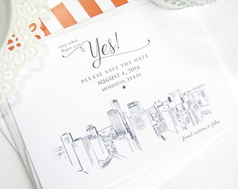 Houston Skyline Save the Date Cards (set of 25 cards)